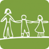 Drawing of childrenwith an adult holding hands in white outlines on a green background